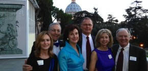 Chapter members, Sally and John Odenheimer, Karen and Duane Haley, and Susan and Bill Coleman in the Vatican Gardens. Patron's 30 anniversary visit to Rome.